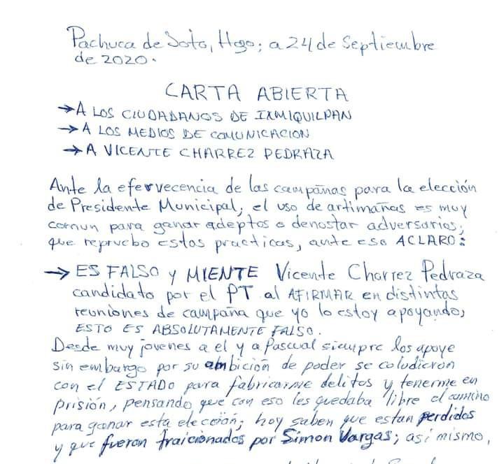 La carta que el ex diputado federal Cipriano Charrez escribió desde el CERESO.