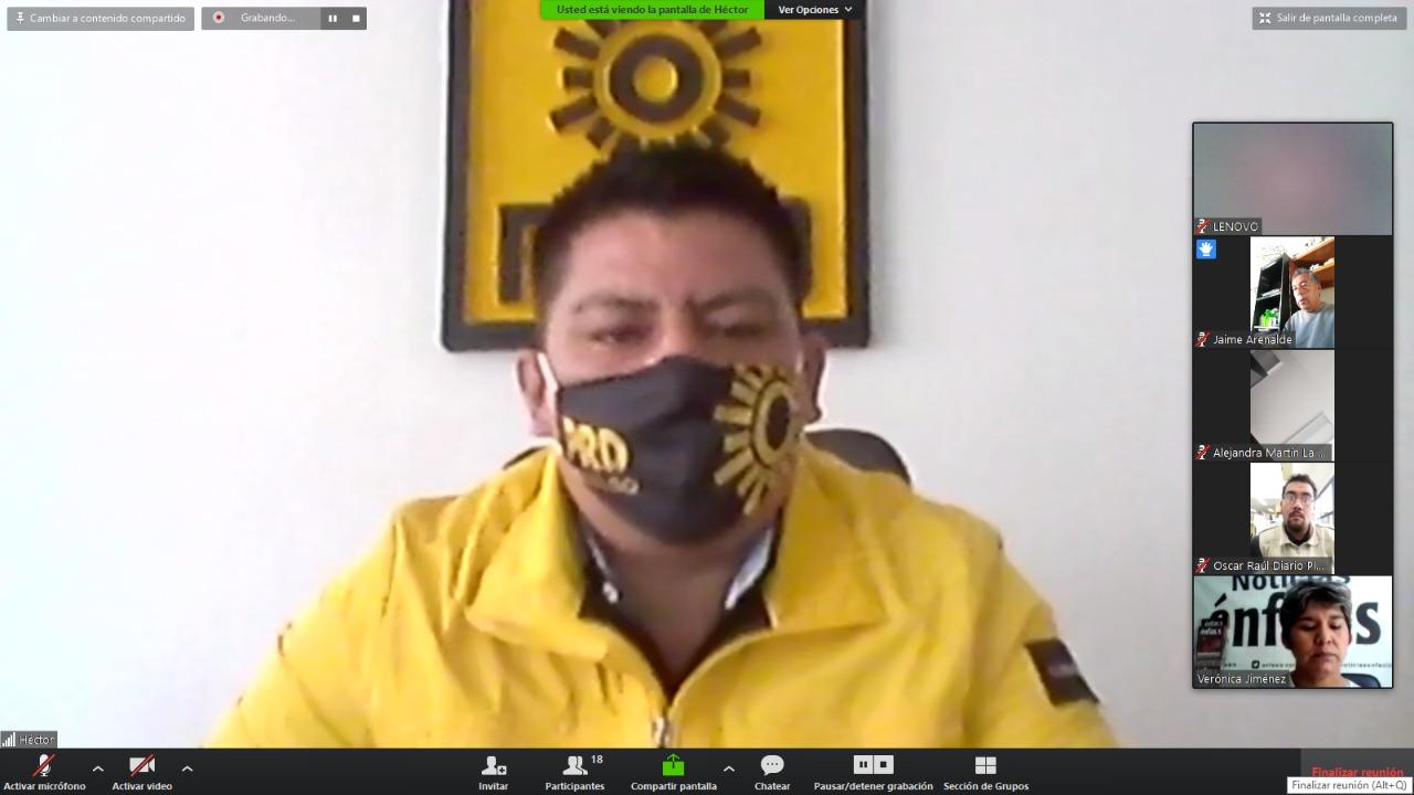 El dirigente del PRD Hidalgo en conferencia virtual