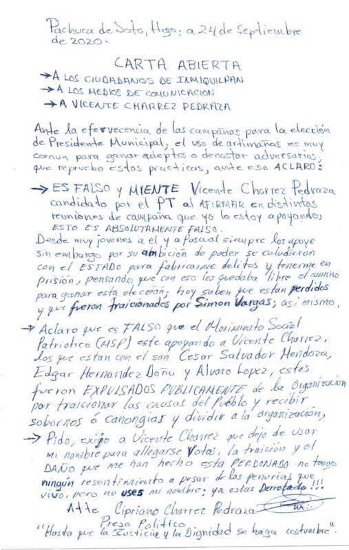 Esta es la carta completa que escribió Cipriano Charrez.