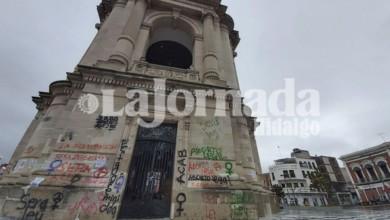 Reloj monumental luego de movilización de Pachuca