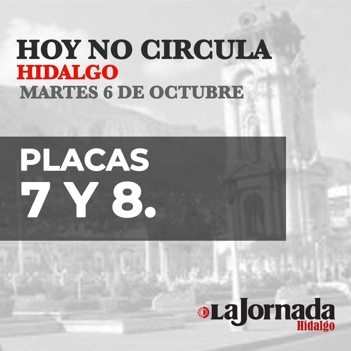 Hoy No Circula Hidalgo placas 7 y 8