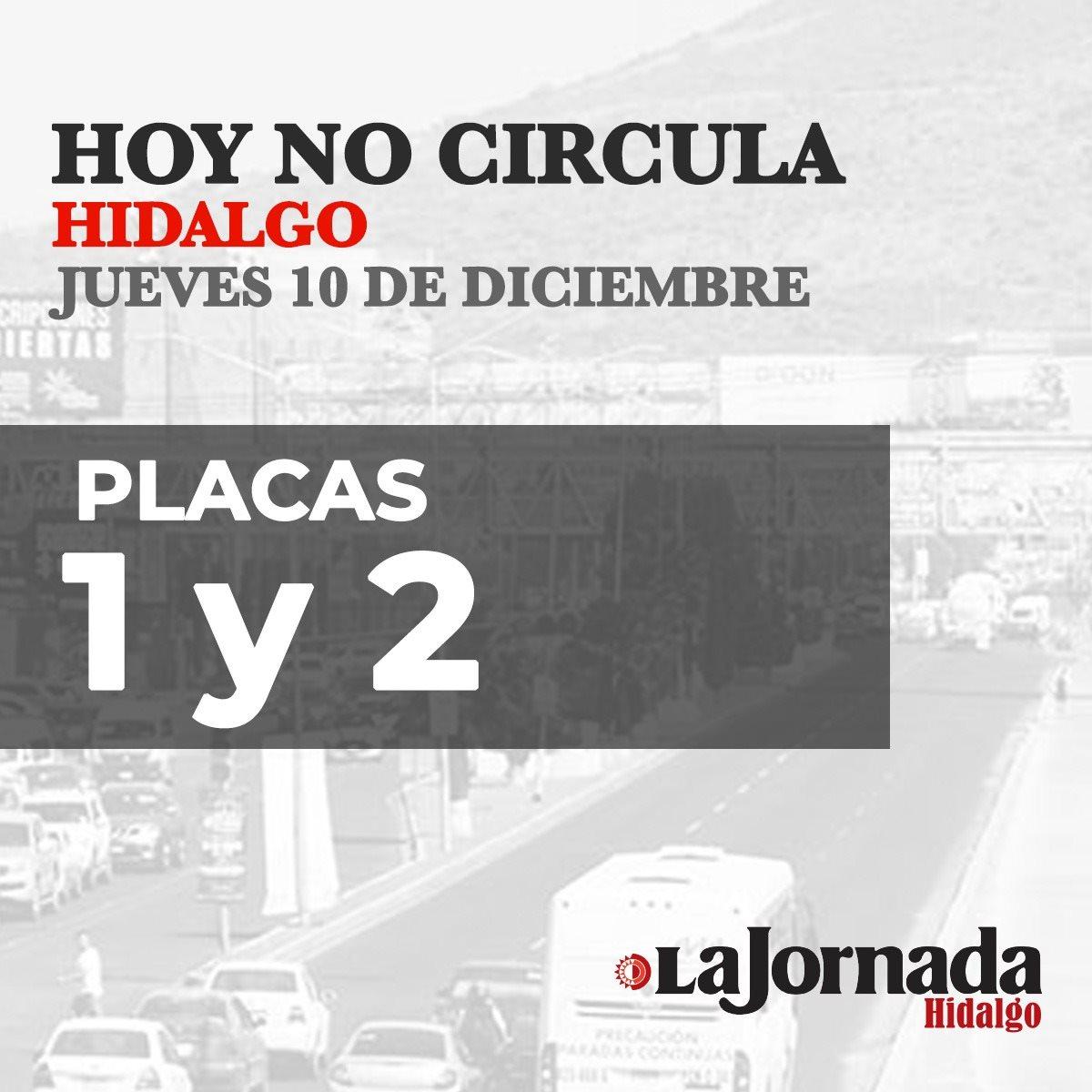 Hoy No Circula Hidalgo 10 diciembre 2020
