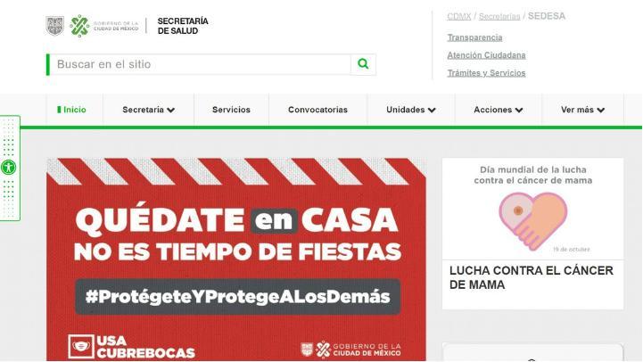 La página oficial de la Secretaría de Salud de la Ciudad de México. Foto tomada del sitio de https://www.salud.cdmx.gob.mx
