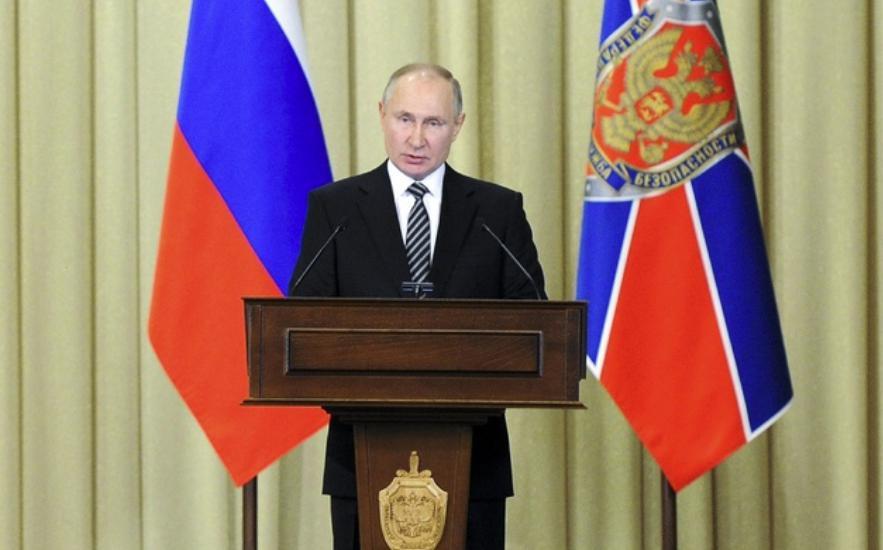 Vladimir Putin durante un discurso frente al Servicio Federal de Seguridad de Rusia. Foto Ap
