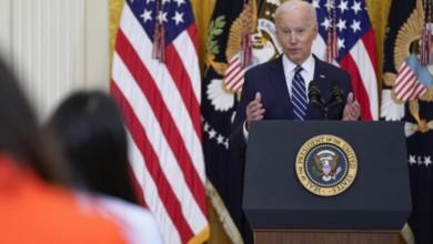 El presidente estadunidense Joe Biden, durante la conferencia de hoy en la Casa Blanca. Foto Ap